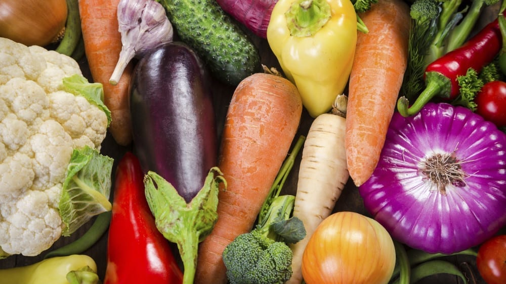 Assortment of colorful vegetables, food background